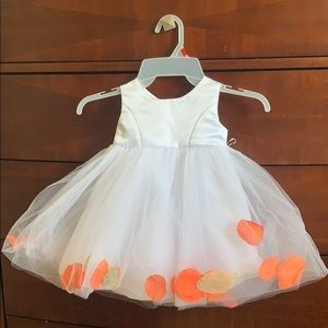 Orange petals white baby dress